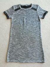 8 S/M gris noir t-shirt Blanc Robe Miss Selfridge casual Grunge Lace Texture