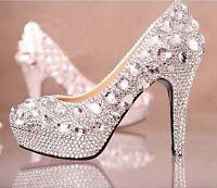 Hot Crystal Glitter Diamond Rhinestone High Heel Wedding Party Dress Court Shoes