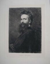 1884 HANS MAKART AUSTRIAN ARTIST DESIGNER PORTRAIT DRAWN ETCHED BY WILLIAM UNGER