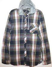 Buffalo David Bitton Mens Blue Plaid Button-Front Hoodie Shirt NWT $89 Size L