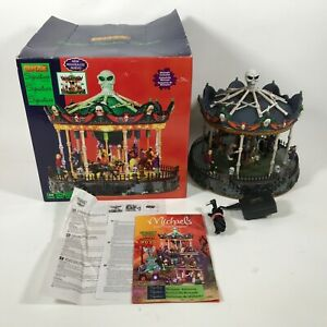 MINT Lemax Spooky Town Scary-Go-Round Lighted Animated Halloween Retired WORKS