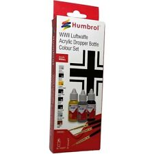Humbrol WWII Luftwaffe Acrylic Dropper Bottle Paint & Brush Set DB9063