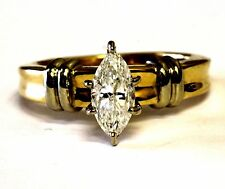 14k yellow gold .75ct I1 L marquise diamond engagement ring 5.1g laser drilled