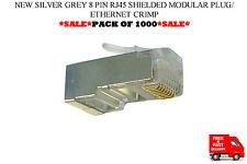 Nuevo Gris Plata 8 Pin RJ45 blindado Modular Plug/Ethernet Crimp Pack de 1000!!!