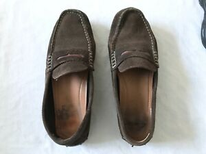 Men's Clarks Brown Loafers Shoes Slip On Suede Leather Smart Casual UK Size 7