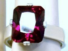 RED RUBY RING SIZE 8 925 STERLING SILVER 8CT EMERALD SHAPE USA MADE