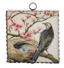 Round Top Collection NWT - Mini Peach Tree Bird Nest Print - Metal & Wood