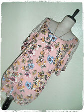Naif Dusty Pink Floral Peek A Boo Crochet Applique Shoulder Necklace Blouse 3X