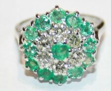 Large Vintage 18ct White Gold Emerald & Diamond Cluster Ring Size N 1/2