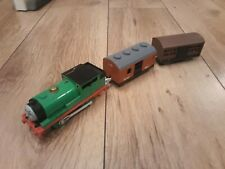 Thomas Trackmaster Percy train with Mail & Cattle carriages, batt operated. TOMY