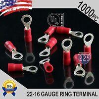 1000  22-16 Gauge #10 Stud Red Ring Terminals Connectors Crimp Tin Copper Core