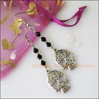 New Women Jewelry Winsome Retro Skull Black Crystal Long Dangle Hook Earrings