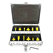 12pc Router Bit Set Tungsten Carbide Tip TCT  With 1/4 Shank Cutter and Case