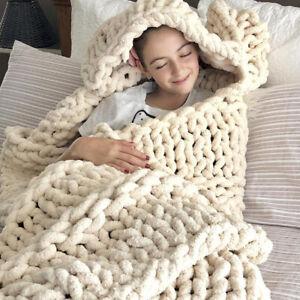 Handmade Knitting Thick Yarn Bulky Winter Soft Warm Blanket Home Sofa Decor NEW