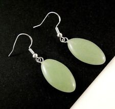 Natural Green Aventurine Gemstone Fashion Earrings with 925 Silver Hooks #1420