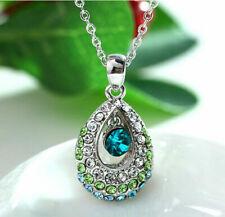 "Crystal Rhinestone Designer Necklace Silver Jewelry 18"" Chain Blue Green"