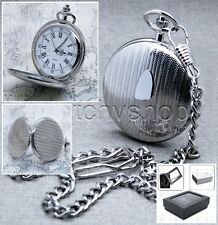 "Silver Pocket Watch Brass Men Quartz Roman Numbers with 14"" Curb Link Chain P75"