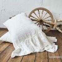 PILLOW SHAM RUFFLE pillowcase Body Pillow Boudoir Queen King WHITE StoneWashed