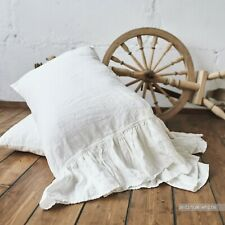 PILLOW SHAM RUFFLE pillowcase Body Pillow Boudoir Queen King WHITE StoneWashed