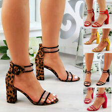 New Womens High Block Heel Sandals Peep Toe Ankle Strap Summer Shoes Sizes 3-8