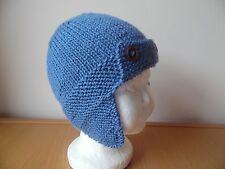 Hand knitted baby boys  aviator/trapper style hat, denim blue, newborn