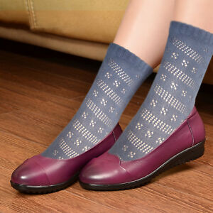 Ladies Pointelle short cotton socks women's black grey navy blue beige white sox