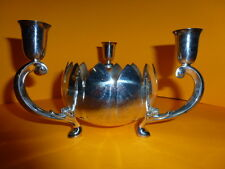 Vintage Reed & Barton Silver Plate Lotus Flower Bowl & 3-Candle Stick Holder 26E
