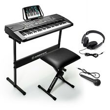 Portable 61 Keyboard Piano Digital Musical Stand Stool Headphones Microphones