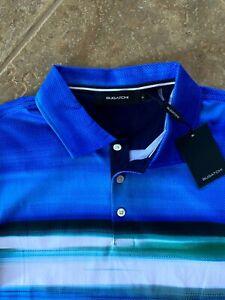 Bugatchi Polo Shirt Mens L Ocean Blue Multi Stripe Print S/S NWT $129 Gorgeous!