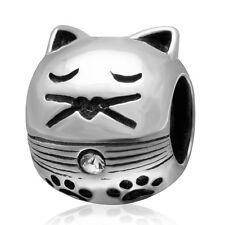 Kitty Cat Pet 925 Sterling Silver CZ Charm Bead Fits European Bracelet S3568