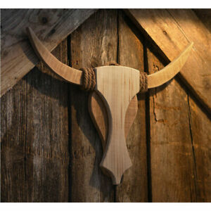 Wand Deko Holz Bulle Fenster Country Western Bullenschädel Kopf Büffel Stier