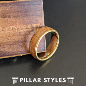 14K Gold Ring Tungsten Wedding Band Mens Whiskey Barrel Ring Unique Wood Rings