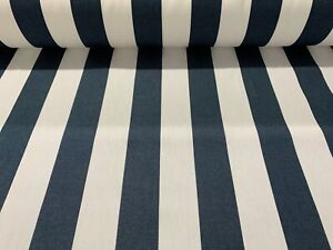 Garden Outdoor Water Resistant Cotton Fabric 160cm wide Navy Blue White Stripe