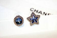 Star Diamante Blue Zircon Crystal Earrings 18K Gold Plated Celestial Moon and