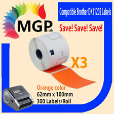 3 Compatible for Brother DK11202 Refill only Orange Label 62mmx100mm QL570 QL700