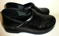 WOMENS DANSKO PATENT LEATHER BLACK GRAY CLOGS SHOES SIZE 38 OR 7.5 8