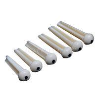 6 Pcs White Acoustic Guitar Saddle Slotted Bridge Pins With Black Dot