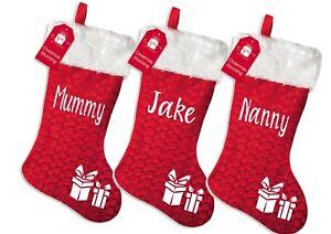 Personalised family Christmas xmas stocking set your names  - present design