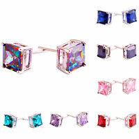 Amethyst Morganite Pink & Green Rainbow & Topaz Sapphire Quartz Silver Earrings