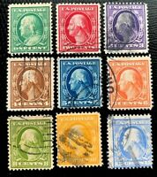 1910-11 US Stamp SC#374-382 Washington Complete Set Used Set