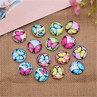 20PCS Butterfly Glass Cabochons Flat Back Jewelry Fit Settings Dome Cameo DIY