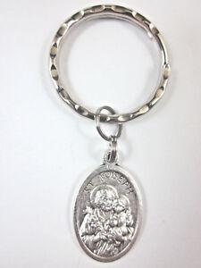 St Joseph / Holy Family Medal Italy Key Ring Gift Box & Prayer Card