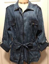 WOMENS PLUS DENIM JACKET 1X NEW DISTRESSED BLUE JEAN TOP XL 16 18 NWT CUTE DEAL