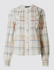 Marks & Spencers Collection Pure Cotton Checked Vintage Ruffle Blouse Size 18