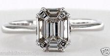 certified 0.75 Ct 18k white Gold Diamond Ring..Emerald Shape Cut Looks 1.50Ct
