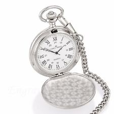 Engraved Personalised Silver Pocket Watch Usher Groom Best Man Wedding Gift NEW