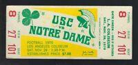 VINTAGE 1970 NCAA NOTRE DAME FIGHTING IRISH @ USC TROJANS FOOTBALL FULL TICKET