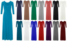 Womens Ladies Plain Color Long Sleeve Flare Maxi Jersey Dress Abaya 8-26