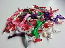 50 Mixed Gold Edged Satin Ribbon Bows Craft Card making Embellishment Scrapbook