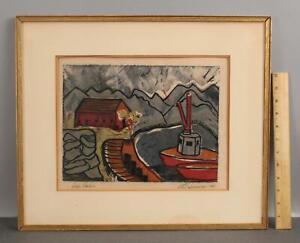1968 Vintage Post Impressionist siigned Modernist Serigraph Print, Boat Harbor
